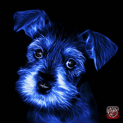 Digital Art - Blue Salt And Pepper Schnauzer Puppy 7206 F by James Ahn