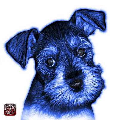 Digital Art - Blue Salt And Pepper Schnauzer Puppy 7206 Fs by James Ahn