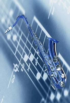 Blue Saxophone Art Print by Norman Reutter