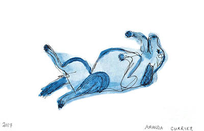 Puppy Mixed Media - Blue Scribble Dog by Amanda Currier