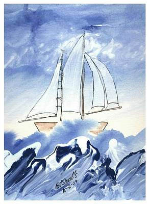 Painting - Blue Sea And Sail by B L Qualls