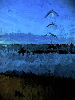 Abstract Beach Landscape Digital Art - Blue Sea In The Blue Wind by Jackie VanO