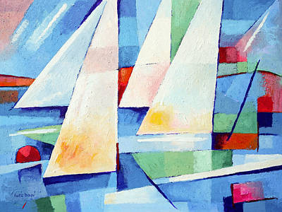 Abstract Seascape Art Painting - Blue Sea Sails by Lutz Baar