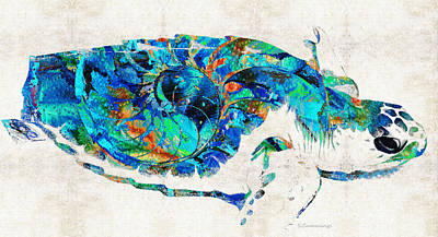 Blue Sea Turtle By Sharon Cummings  Art Print