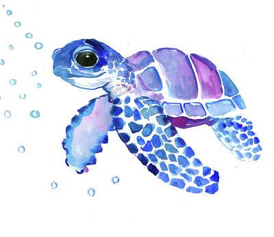 Painting - Blue Sea Turtle, Children Artwork by Suren Nersisyan