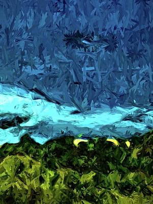 Digital Art - Blue Sea With Turquoise Waves And Green Grass by Jackie VanO