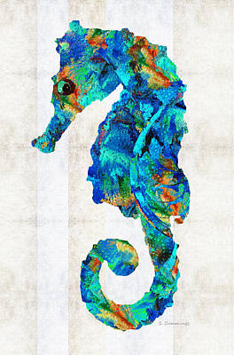 Blue Seahorse Art By Sharon Cummings Art Print