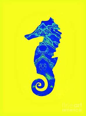 Mixed Media - Blue Seahorse Left Facing by Rachel Hannah