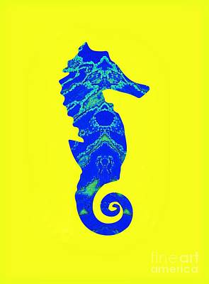 Mixed Media - Blue Seahorse Right Facing by Rachel Hannah