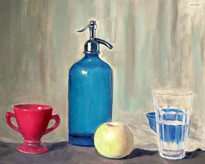 Painting - Blue Seltzer Bottle, Red Sugar Bowl, Apple, Water Glass,blue Bowl by Robert Holden