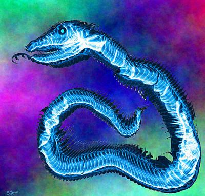 Soul Digital Art - Blue Serpent Dancer  by Abstract Angel Artist Stephen K