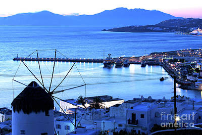 Windmill At Night Blue Photograph - Blue Shade Of Nightfall In Mykonos by John Rizzuto