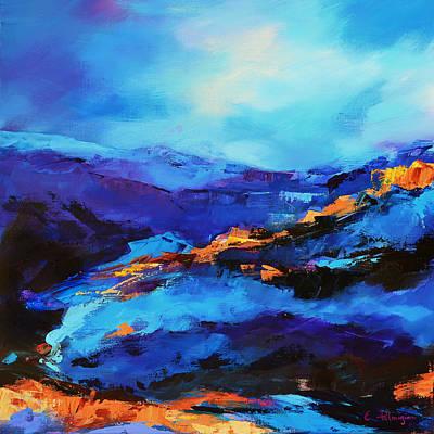 Landmarks Painting Royalty Free Images - Blue shades Royalty-Free Image by Elise Palmigiani
