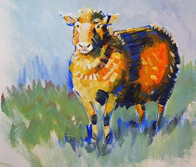 Painting - Blue Shadow Sheep Painting by Mike Jory