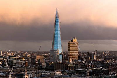 Photograph - Blue Shard Winter Dusk London by Gary Eason