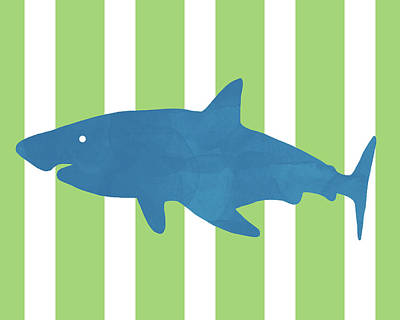 Mixed Media - Blue Shark 1- Art By Linda Woods by Linda Woods