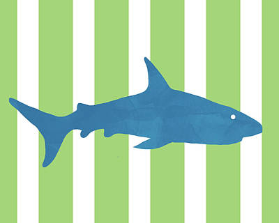 Juvenile Wall Decor Mixed Media -  Blue Shark 2- Art By Linda Woods by Linda Woods
