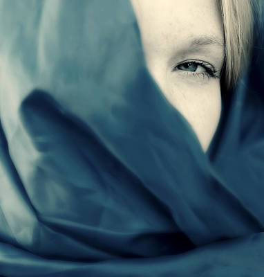 Photograph - Blue Shawl #02953 by Andrey  Godyaykin