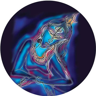 Painting - Blue Shiva Light by Guruji Aruneshvar Paris Art Curator Katrin Suter