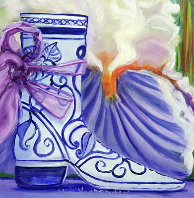 Blue Shoe, Painting Of A Painting Art Print