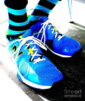 Blue Shoes And Socks Art Print by Randall Weidner