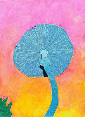 Gaia Drawing - Blue 'shroom by Bobby Hermesch