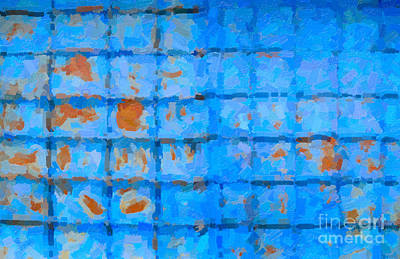 Digital Art - Blue Shutter And Rust by Ari Salmela