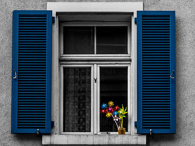 Justin Woodhouse Photograph - Blue Shuttered Window by Kaleidoscopik Photography