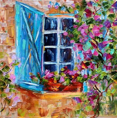 Painting - Blue Shutters And Flowers by Karen Tarlton