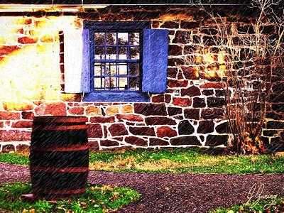 Rain Barrel Mixed Media - Blue Shutters And Spring Rain by Joshua Zaring
