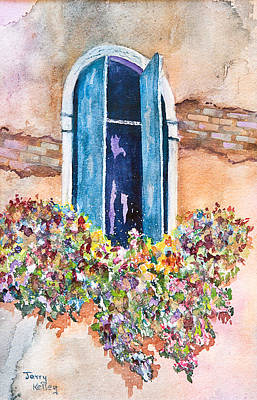 Painting - Blue Shutters by Jerry Kelley