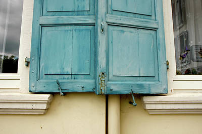 Art Print featuring the photograph Blue Shutters Rudesheim by KG Thienemann