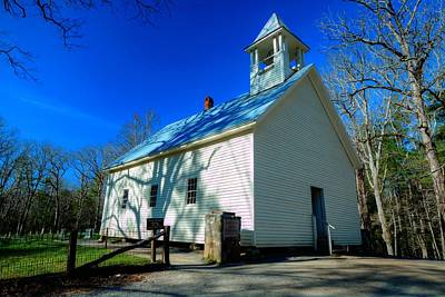 Photograph - Blue Skies At The Primitive Baptist Church In The Great Smoky Mountains National Park At Cades Cove by Carol Montoya
