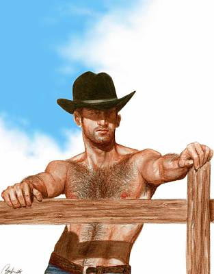Cowboy Art Drawing - Blue Skies by Bruce Lennon
