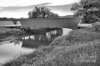 Photograph - Blue Skies Over The Hogback Bridge Black And White by Adam Jewell