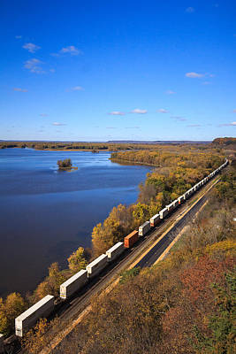 Photograph - Blue Skies, Rivers And Trains by Joni Eskridge