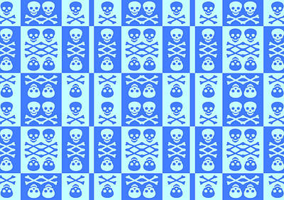 Digital Art - Blue Skull And Crossbones Pattern by Roseanne Jones