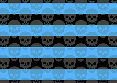Digital Art - Blue Skull Stripes by Roseanne Jones