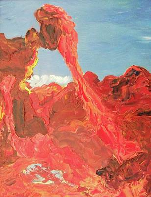 Blue Sky And Orange Rocks Art Print by Suzanne  Marie Leclair