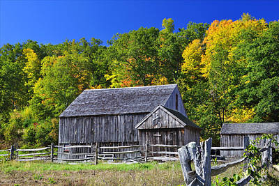 Blue Sky Autumn Barn Art Print
