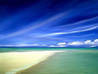 Nautical Digital Art - Blue Sky Beach by Anthony Fishburne