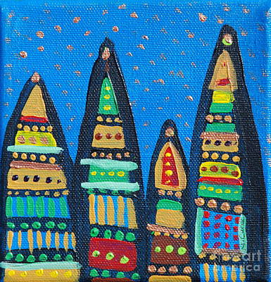 Blue Sky Catherdrals Art Print by Maria Curcic