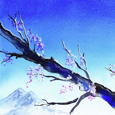 Sakura Painting - Blue Sky Mountains Spring  by Irina Sztukowski