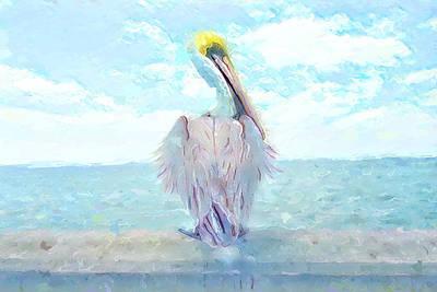 Blue Sky Pelican Art Print