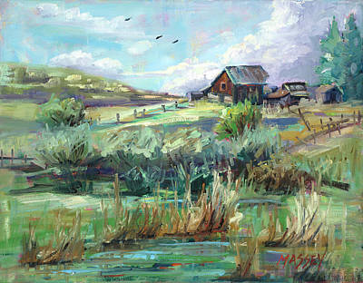 Painting - Blue Sky Ranch by Marie Massey