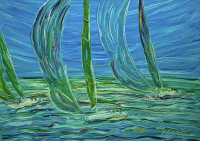 St.tropez Painting - Blue Sky Sailing by Pete Caswell