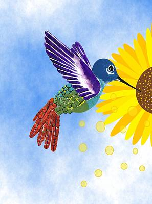 Mixed Media - Blue Sky Sunflowers by Kathleen Sartoris