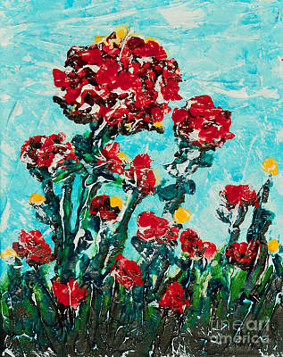 Painting - Blue Sky With Flowers by Alys Caviness-Gober