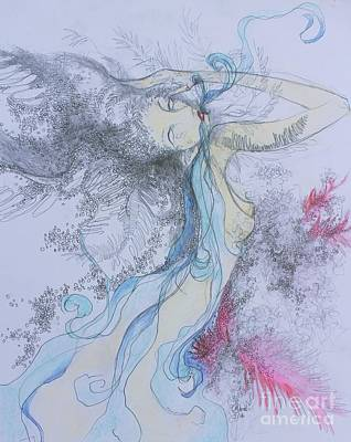 Drawing - Blue Smoke And Mirrors by Marat Essex