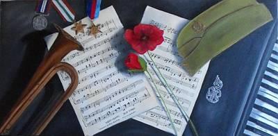 Old Sheet Music Painting - Blue Smoke by Sharlene Schmidt